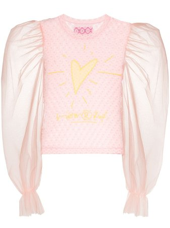 Viktor & Rolf Heart-embroidered Lace Top | Farfetch.com