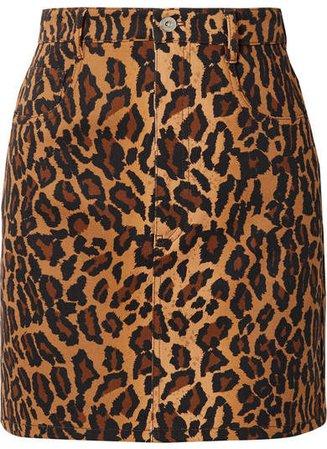 Appliquéd Leopard-print Denim Mini Skirt - Brown