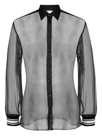 Dolce & Gabbana Sheer Silk Shirt G5HG3TFU1EZ Black   Farfetch