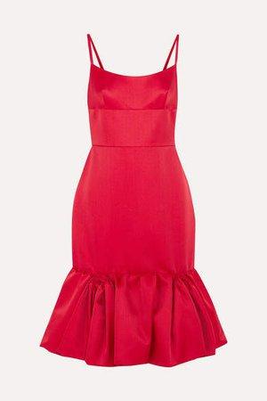 Wool And Silk-blend Satin Peplum Dress - Red