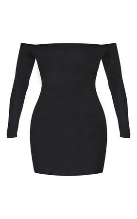 Black Basic Bardot Bodycon Dress   PrettyLittleThing USA