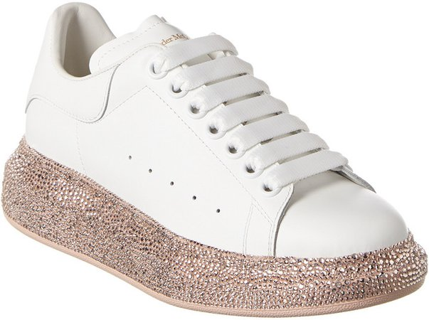 Oversized Crystal Sole Leather Sneaker