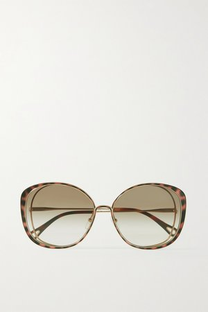 Gold Oversized round-frame acetate and gold-tone sunglasses   Chloé   NET-A-PORTER