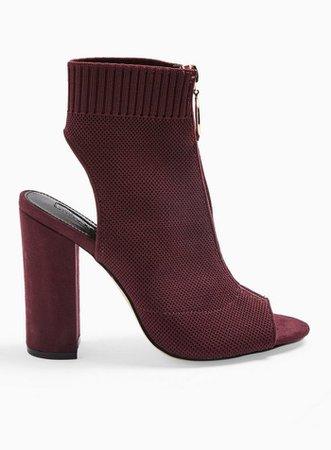 Strike Red Block Heel Knitted Peep Toe Sandals | Miss Selfridge
