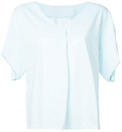 draped-sleeve V-neck T-shirt