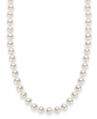 """Macy's 18"""" Cultured Freshwater Pearl Strand Necklace (7-8mm) in Sterling Silver & Reviews - Necklaces - Jewelry & Watches - Macy's"""