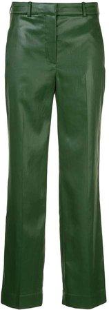 straight-leg mid-rise trousers