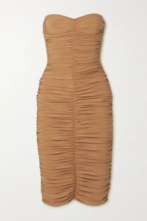Beige Slinky strapless ruched stretch-jersey dress | Norma Kamali | NET-A-PORTER