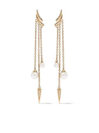 Shop Yoko London 18kt yellow gold diamond pearl Trend drop earrings with Express Delivery - FARFETCH