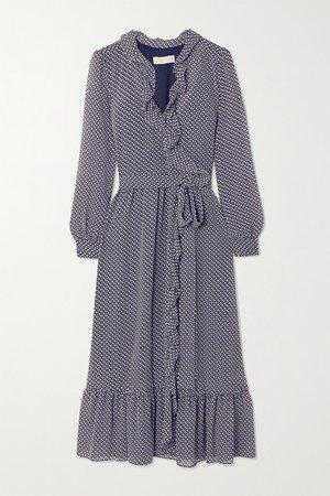 Ruffled Floral-print Georgette Wrap Dress - Navy