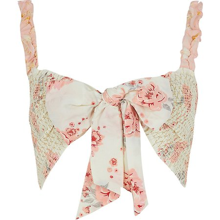 Light pink floral tie front beach top | River Island
