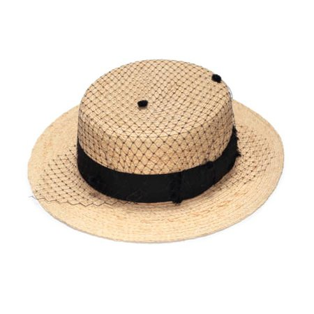 Straw Boater Hat With Veil | Justine Hats | Wolf & Badger