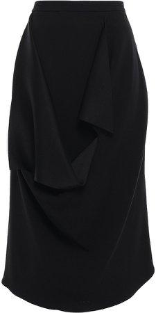 Draped Crepe-satin Midi Skirt