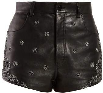 High Rise Embroidered Leather Shorts - Womens - Black Silver