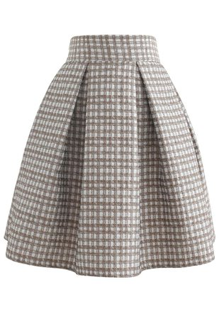 Shimmery Embossed Check Pleated Skirt in Tan - Retro, Indie and Unique Fashion