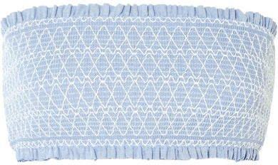 Cassis Smocked Stretch-piqué Bandeau Bikini Top - Light blue