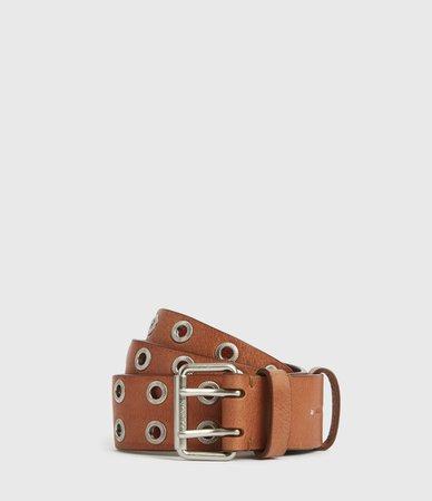 ALLSAINTS US: Womens Abigail Leather Belt (camel)