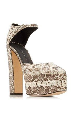 Snake-Print Leather Platform Sandals By Giuseppe Zanotti   Moda Operandi