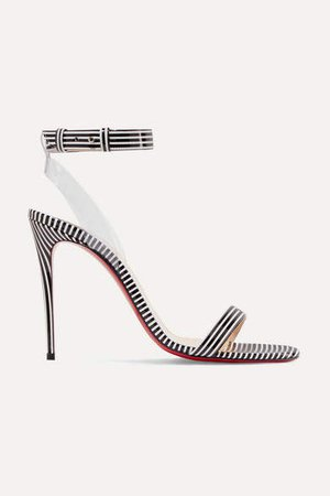 Jonatina 100 Pvc-trimmed Striped Patent-leather Sandals - Black