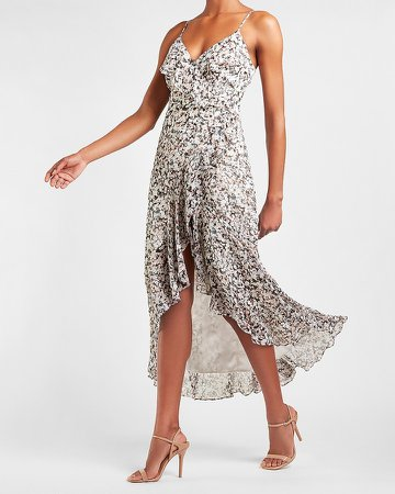 Printed Ruffle Wrap Front Maxi Dress