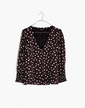 Silk Smocked-Cuff Button-Front Shirt in Big Dot