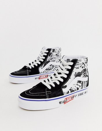 Vans SK8-Hi black contrast trainers in black/white | ASOS