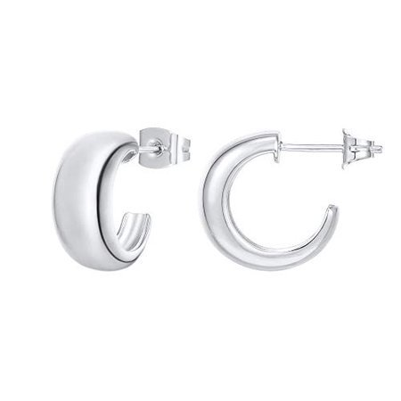 Amazon.com: PAVOI 14K Gold Plated Sterling Silver Post Thick Huggie Earrings - Small Round Hoop Earrings in Yellow Gold: Jewelry