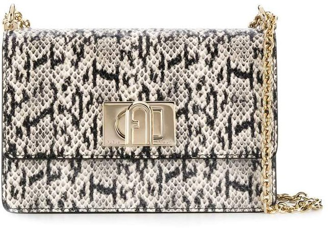 snake-effect cross-body bag