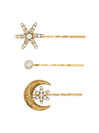 Gold Jennifer Behr Crystal And Pearl Star And Moon Set Of Three Hair Clips | Farfetch.com