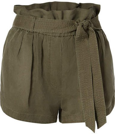 Belted Linen-blend Shorts - Army green