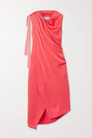 Asymmetric Satin-crepe Dress - Tomato red