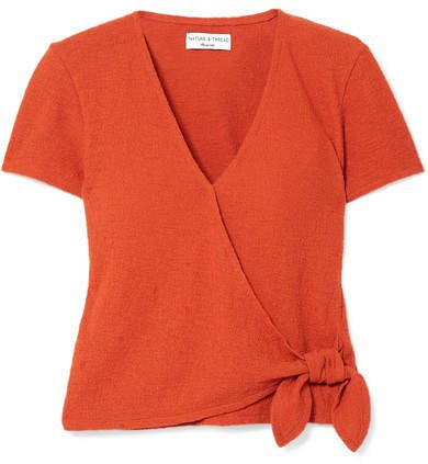 Miller Textured Stretch-cotton Wrap Top - Orange