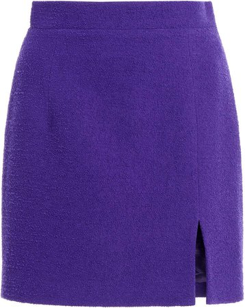 Alessandra Rich Tweed Mini Skirt With Side Split