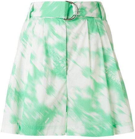 Painterly-Print Belted Shorts