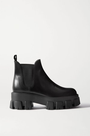 Black 60 glossed-leather platform Chelsea boots | Prada | NET-A-PORTER