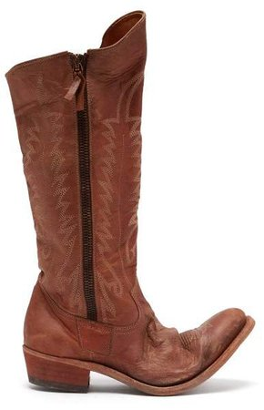 Golden Leather Boots - Womens - Brown