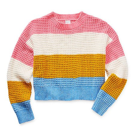 Arizona Little & Big Girls Round Neck Long Sleeve Pullover Sweater - JCPenney