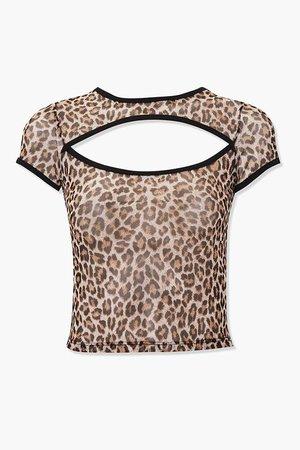 Leopard Cutout Crop Top
