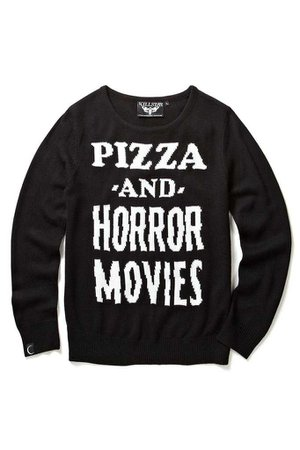 Pizzas and horror movies sweater