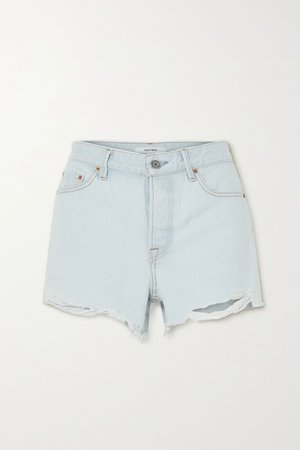Light denim Helena distressed denim shorts | GRLFRND | NET-A-PORTER