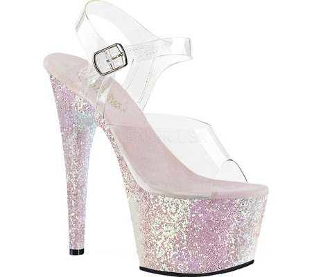 Womens Pleaser Adore 708LG Platform Sandal - Clear PVC/Black Holographic Glitter - FREE Shipping & Exchanges