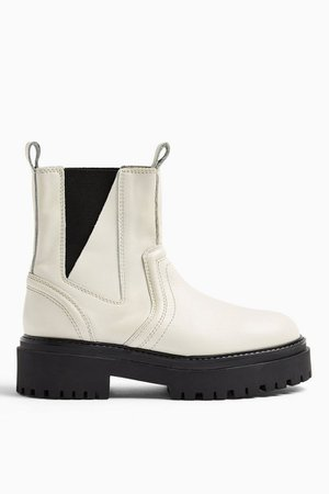 ALBIE Ecru Leather Chunky Chelsea Boots | Topshop