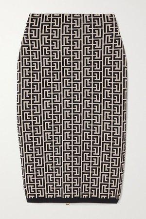 Jacquard-knit Wool-blend Skirt - Black