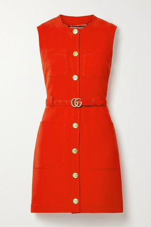 Tomato red Belted silk and wool-blend cady mini dress | Gucci | NET-A-PORTER