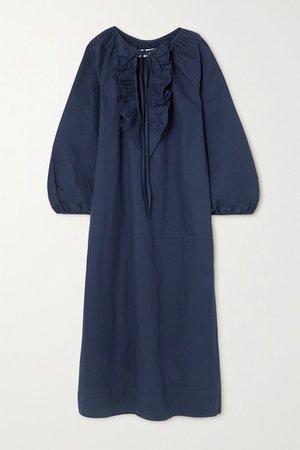 Gorrion Ruffled Stretch-cotton Satin Maxi Dress - Blue