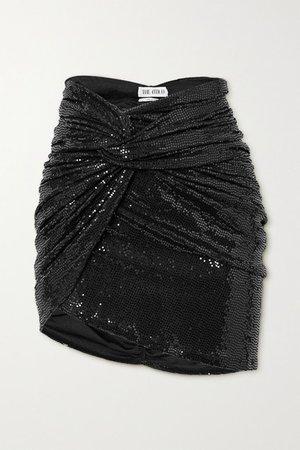 Asymmetric Draped Sequined Jersey Mini Skirt - Black
