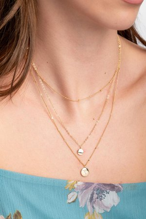 Hannah Coin Pendant Layered Necklace | francesca's