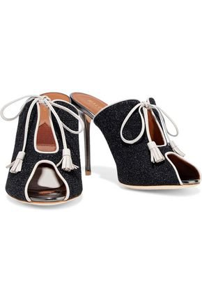 Dawn leather-trimmed glittered crepe mules | MALONE SOULIERS | Sale up to 70% off | THE OUTNET