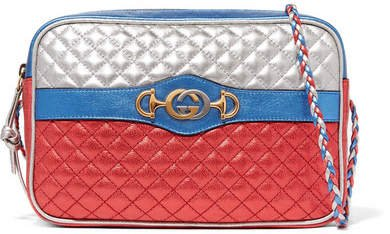 Metallic Quilted Leather Shoulder Bag - Red