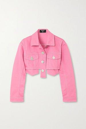 Pink Cropped denim jacket | Balmain | NET-A-PORTER